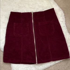 Brandy Melville Maroon Zip Up Skirt